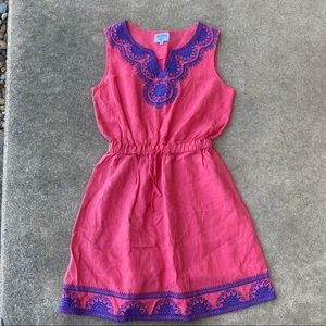 Hiho Embroidered Linen Sleeveless Dress